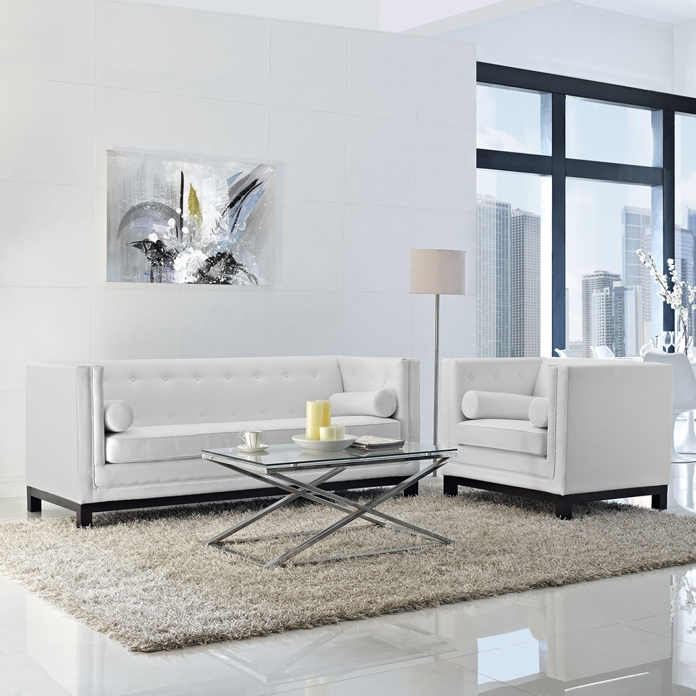 Imperial 2 Pieces Bonded Leather Sofa Set Button Tufted