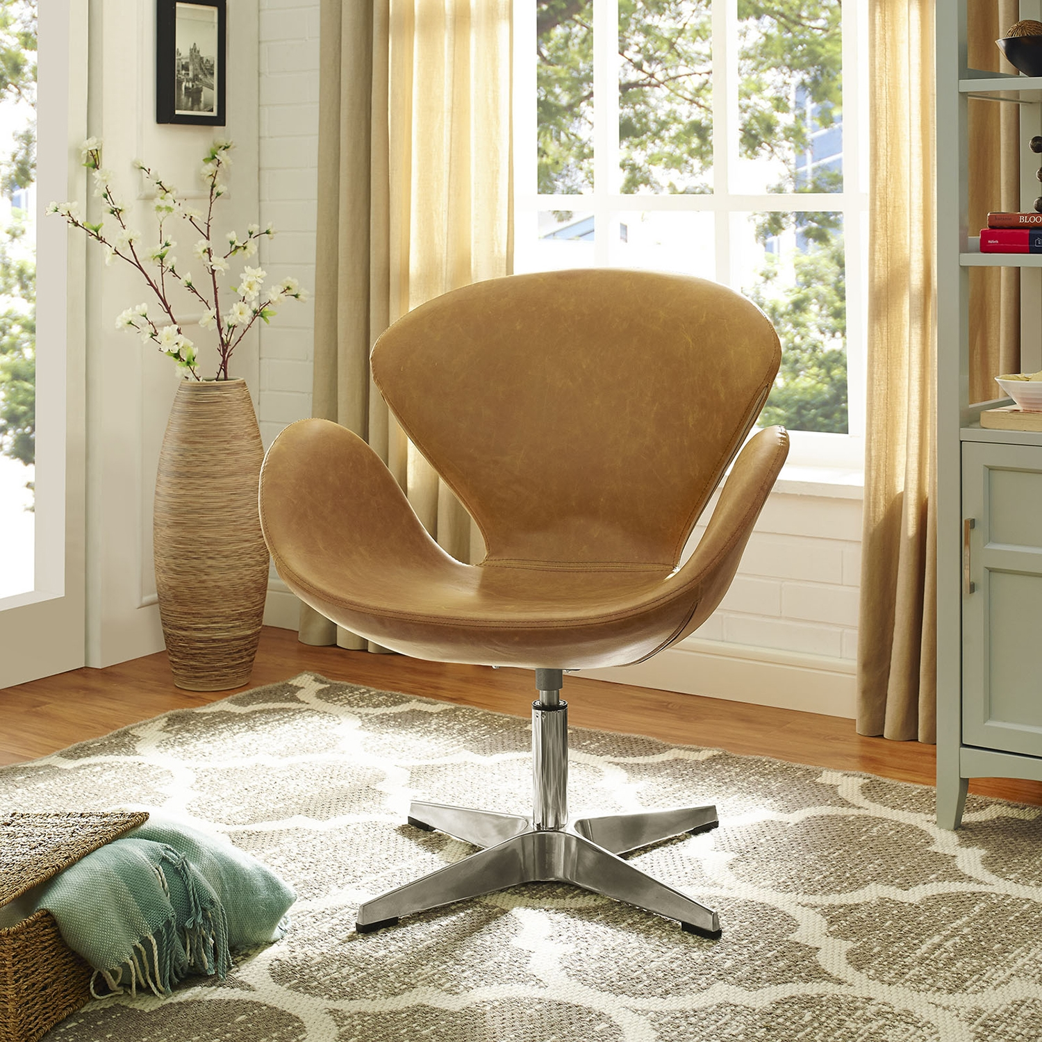 Flight Leatherette Lounge Chair - Tan - EEI-1803-TAN