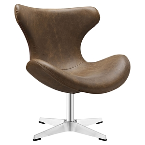 Helm Leatherette Lounge Chair - Brown