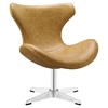 Helm Leatherette Lounge Chair - Tan - EEI-1804-TAN