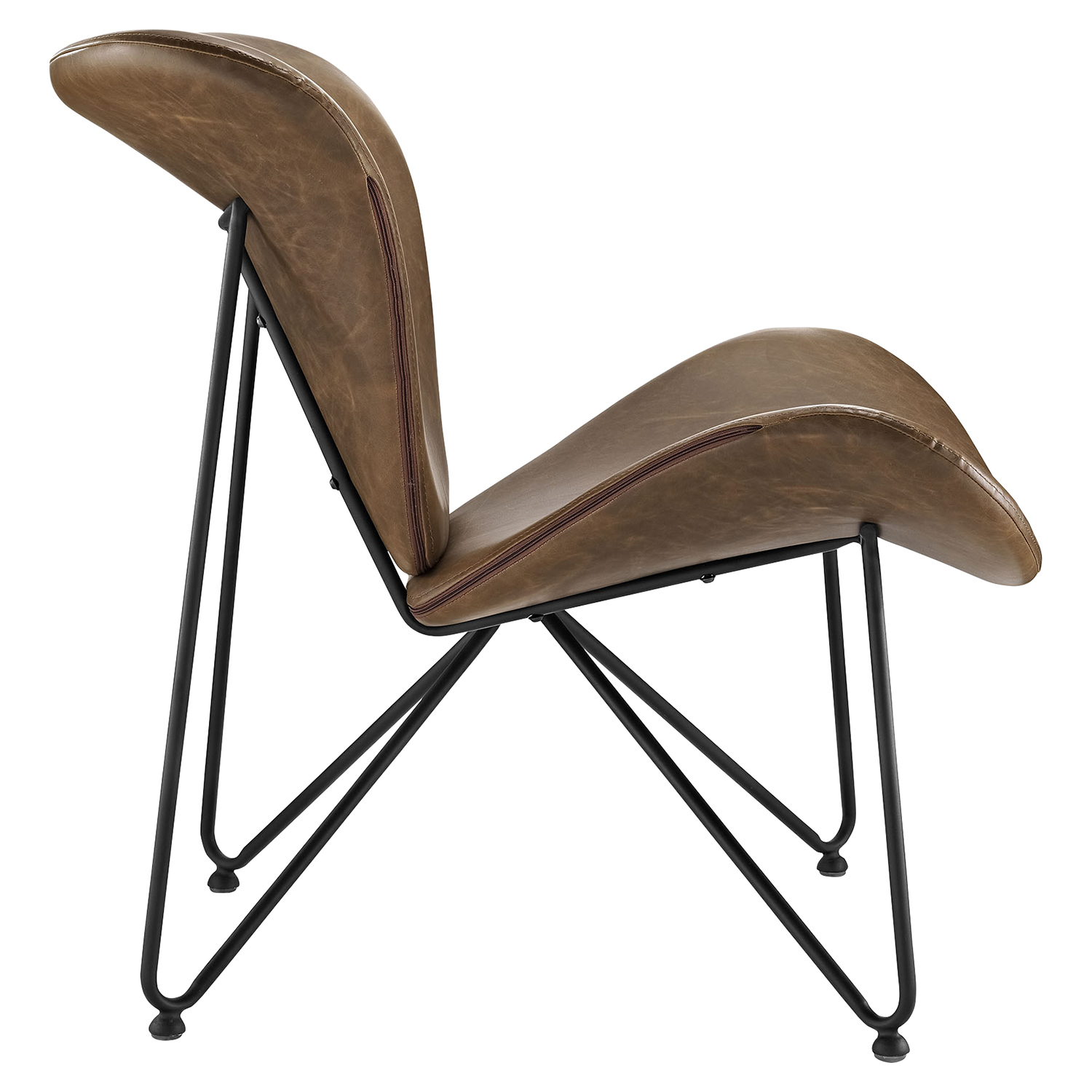 Glide Leatherette Lounge Chair - Brown - EEI-1807-BRN