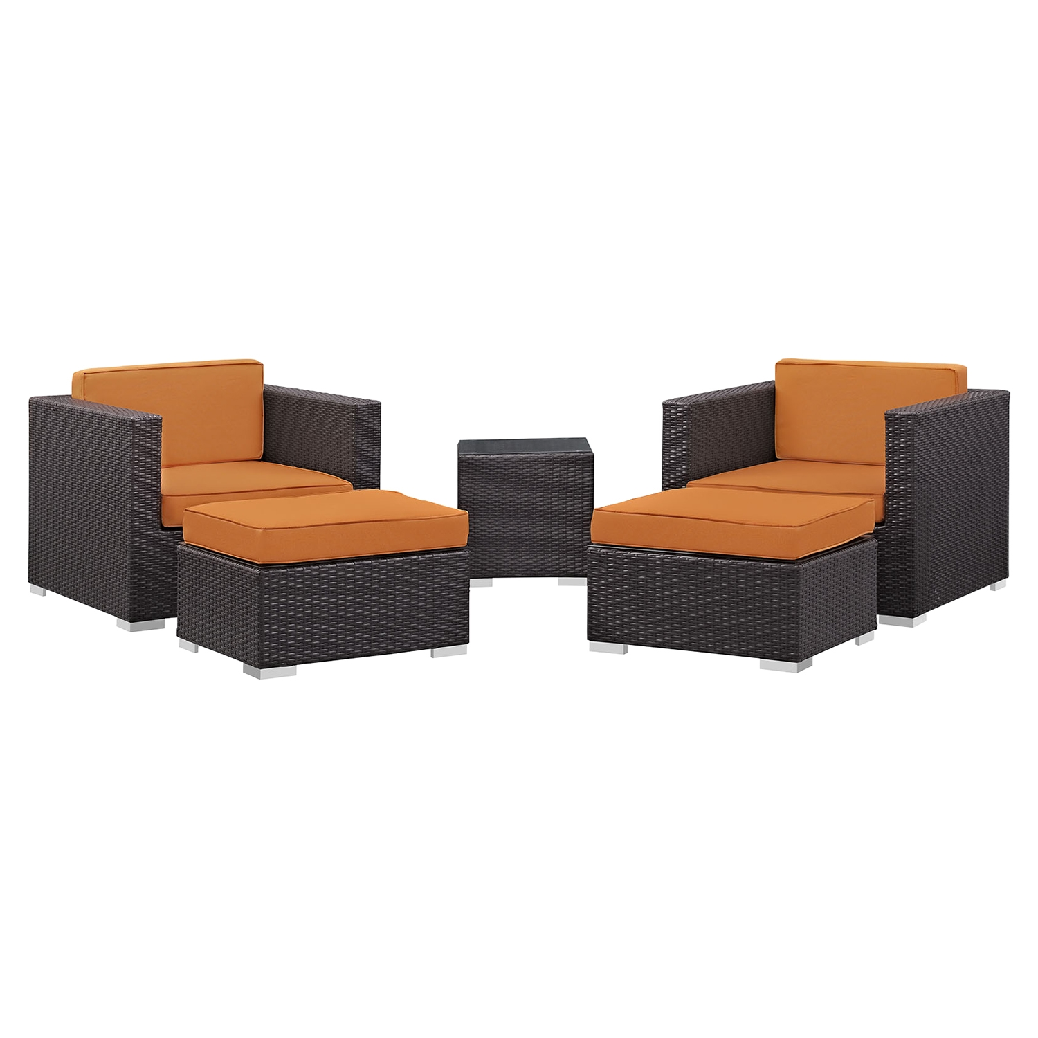 Convene 5 Pieces Outdoor Patio Sectional Set - Square Side Table - EEI-1809-EXP-SET