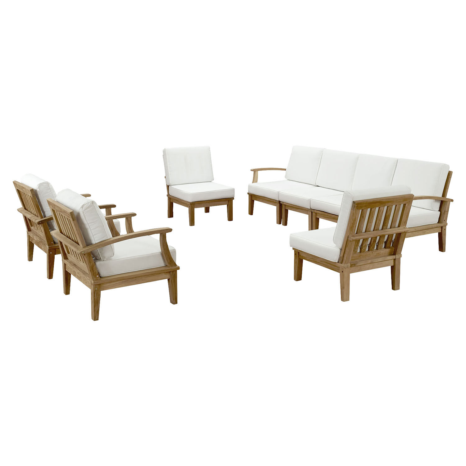 Marina 8 Pieces Outdoor Patio Teak Sofa Set - Natural White - EEI-1817-NAT-WHI-SET