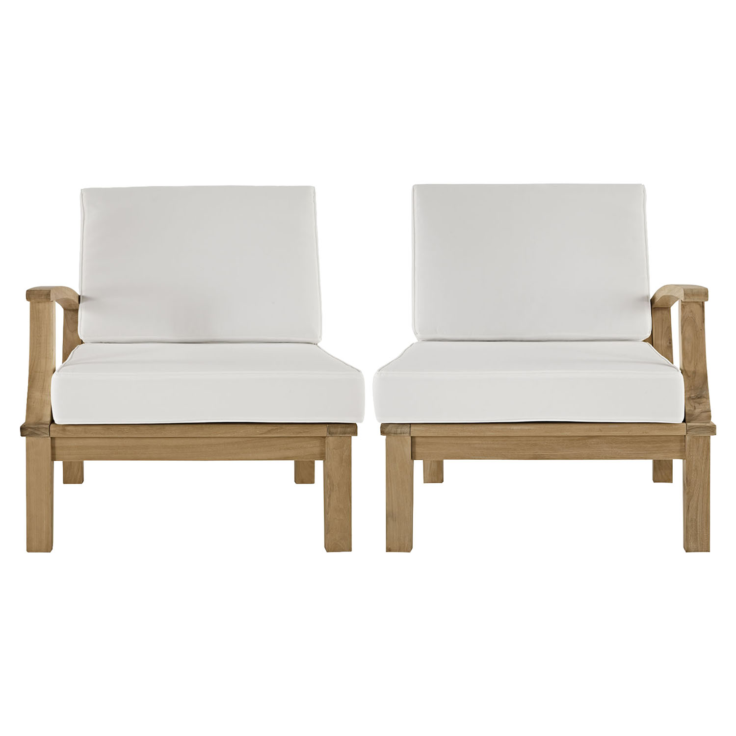 Marina 2 Pieces Outdoor Patio Teak Sofa Set - Natural White - EEI-1822-NAT-WHI-SET