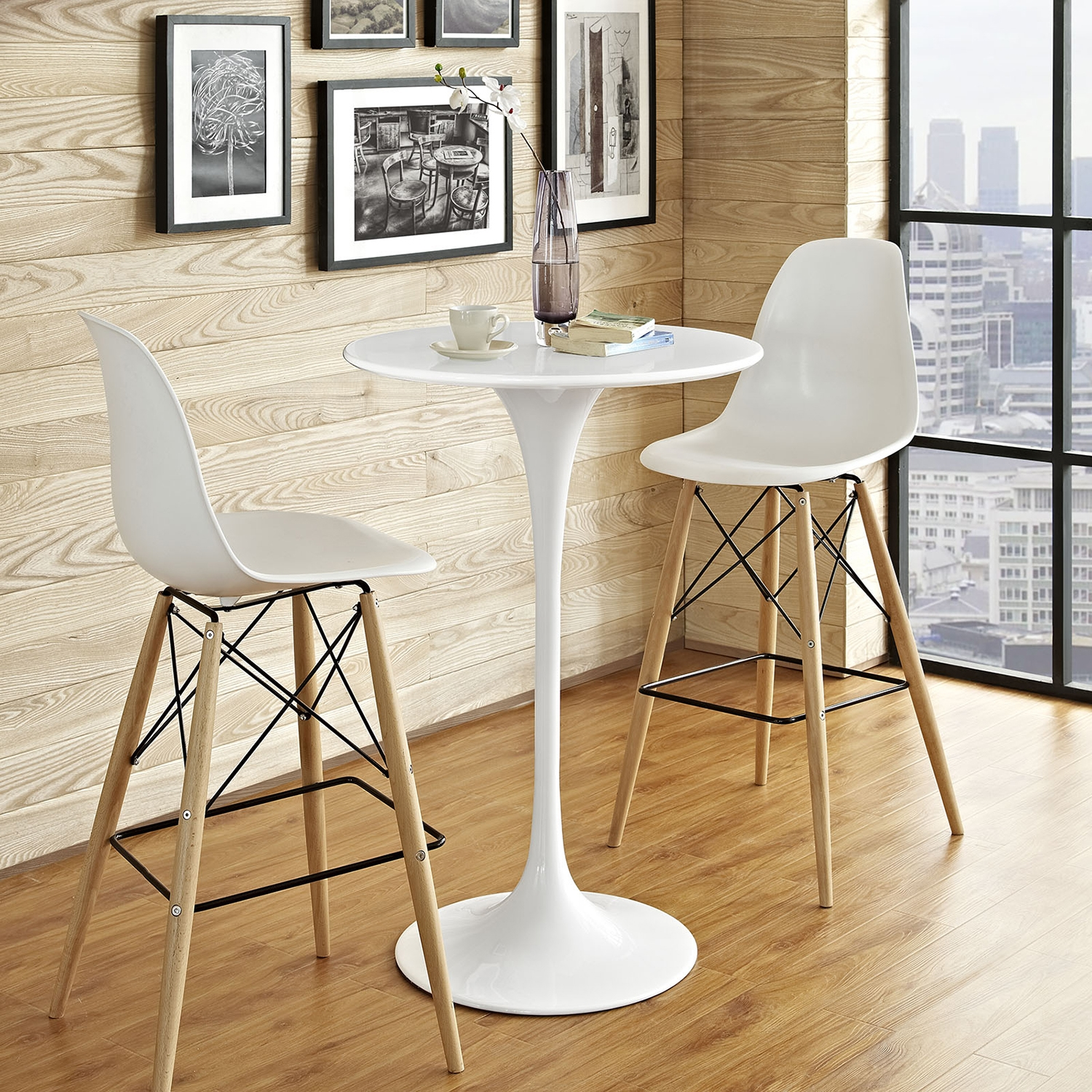 "Lippa 28"" Wood Bar Table - White - EEI-1825-WHI"