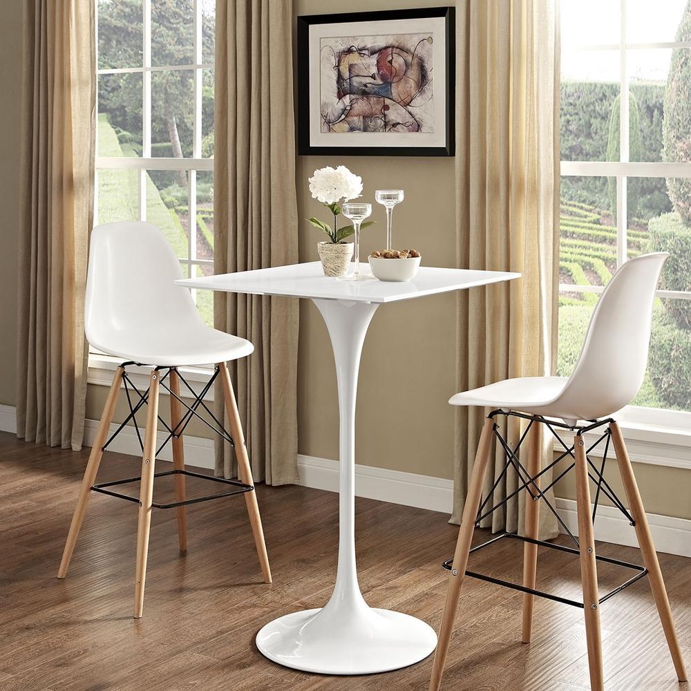 "Lippa 28"" Square Bar Table - Wood Top, White"