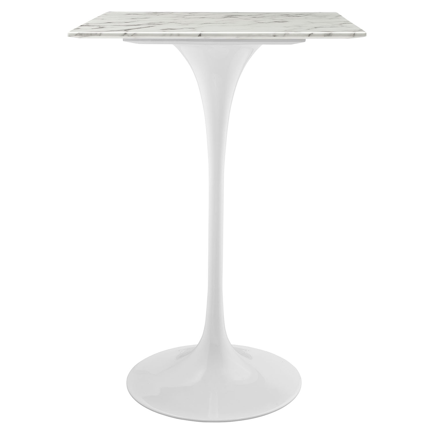 "Lippa 28"" Artificial Marble Bar Table - White, Square - EEI-1828-WHI"