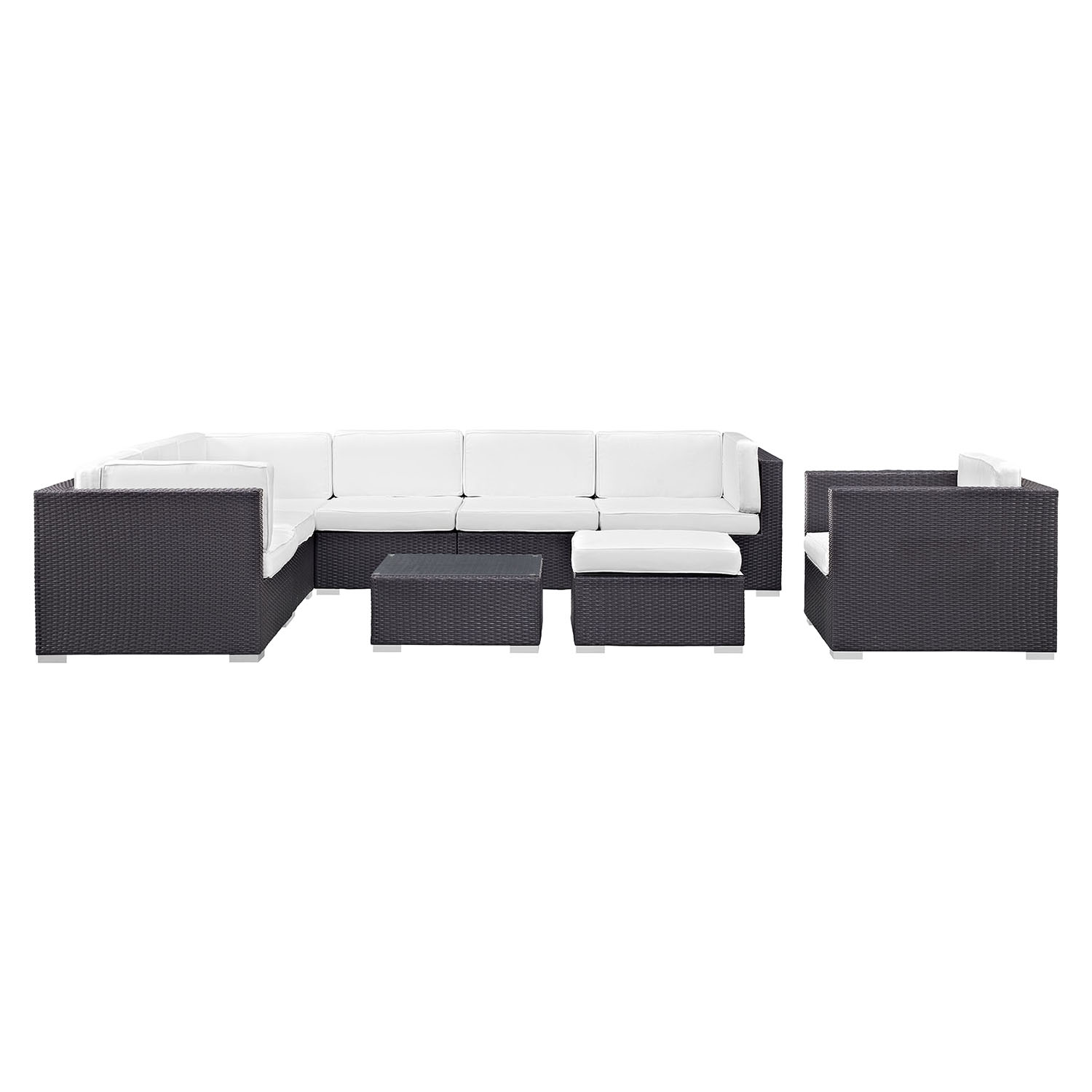 Gather 9 Pieces Outdoor Patio Sectional Set - EEI-1837-EXP-SET