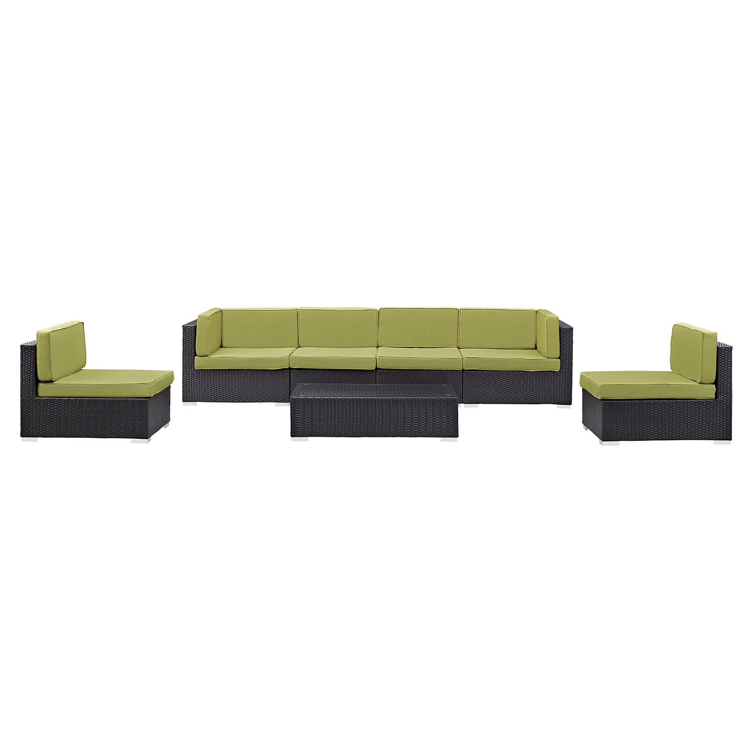 Gather 7 Pieces Espresso Peridot Outdoor Patio Sectional Set - EEI-1838-EXP-PER-SET