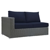 Sojourn 7 Pieces Outdoor Patio Sectional Set - Sunbrella Chocolate Navy - EEI-2013-CHC-NAV-SET