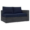 Summon 7 Pieces Outdoor Patio Sectional Set - Sunbrella Gray Navy - EEI-2014-GRY-NAV-SET