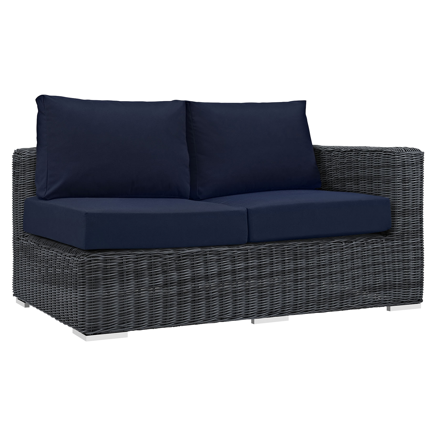 Summon 11 Pieces Outdoor Patio Sectional Set - Sunbrella Canvas Navy - EEI-1899-GRY-NAV-SET