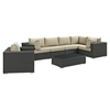 Sojourn 7 Pieces Patio Sectional Set - Sunbrella Canvas Antique Beige - EEI-1878-CHC-BEI-SET