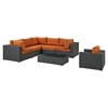 Sojourn 7 Pieces Outdoor Patio Sectional Set - Sunbrella Canvas Tuscan - EEI-1878-CHC-TUS-SET