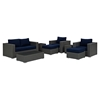 Sojourn 8 Pieces Outdoor Patio Sofa Set - Sunbrella Canvas Navy - EEI-1880-CHC-NAV-SET