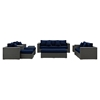 Sojourn 9 Pieces Outdoor Patio Sofa Set - Sunbrella Canvas Navy - EEI-1881-CHC-NAV-SET