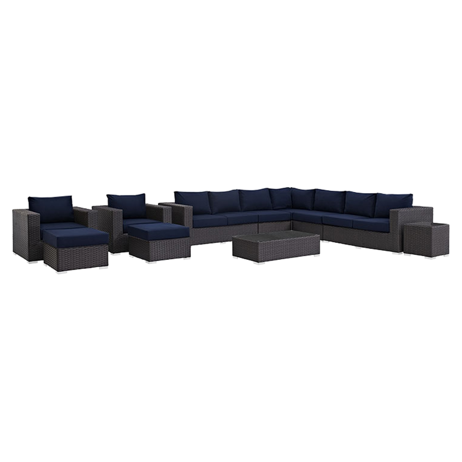 Sojourn 11 Pieces Outdoor Patio Sectional Set - Sunbrella Canvas Navy - EEI-1885-CHC-NAV-SET