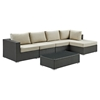 Sojourn 5 Pieces Patio Sectional Set - Sunbrella Canvas Antique Beige - EEI-1886-CHC-BEI-SET