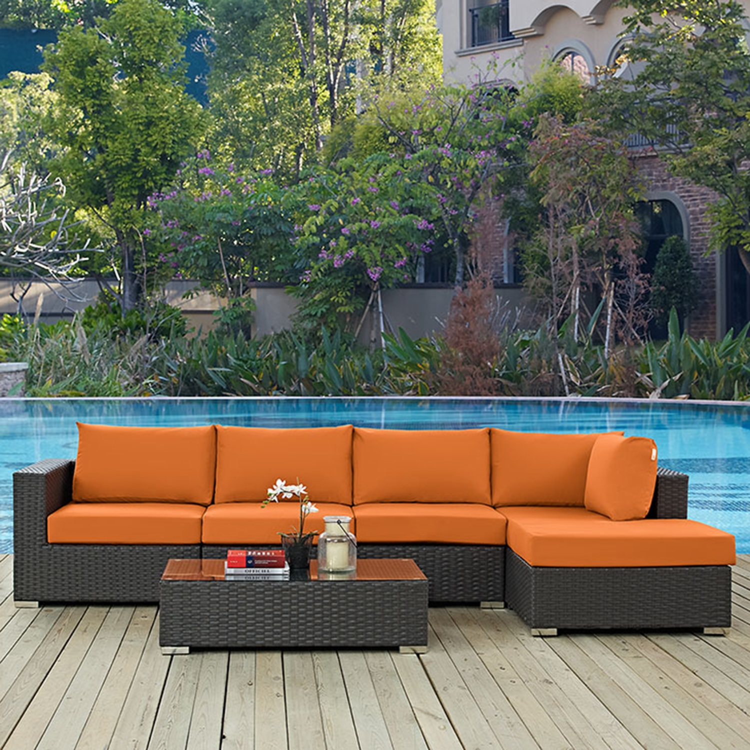 Sojourn 5 Pieces Outdoor Patio Sectional Set - Sunbrella Canvas Tuscan - EEI-1886-CHC-TUS-SET