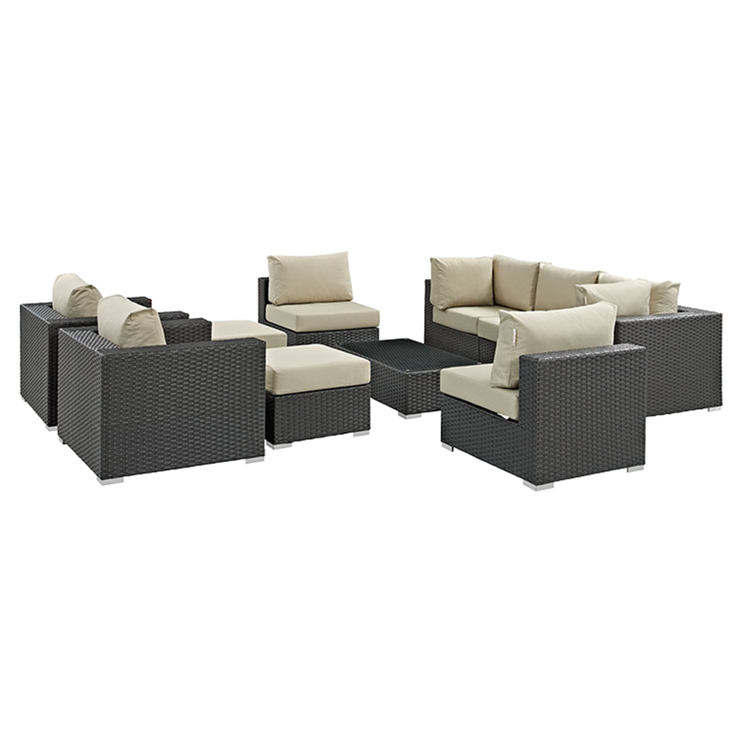 ... Sojourn 10 Pieces Patio Sectional Sofa Set - Sunbrella Canvas Antique Beige - EEI-1888 ...  sc 1 st  DCG Stores : antique sectional sofa - Sectionals, Sofas & Couches