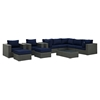 Sojourn 10 Pieces Outdoor Patio Sectional Sofa Set - Sunbrella Canvas Navy - EEI-1888-CHC-NAV-SET