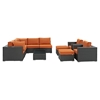 Sojourn 10 Pieces Patio Sectional Sofa Set - Sunbrella Canvas Tuscan - EEI-1888-CHC-TUS-SET