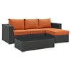 Sojourn 3 Pieces Outdoor Patio Sectional Set - Sunbrella Canvas Tuscan - EEI-1889-CHC-TUS-SET