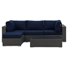 Sojourn 5 Pieces Patio Sectional Set - Coffee Table, Sunbrella Canvas Navy - EEI-1890-CHC-NAV-SET