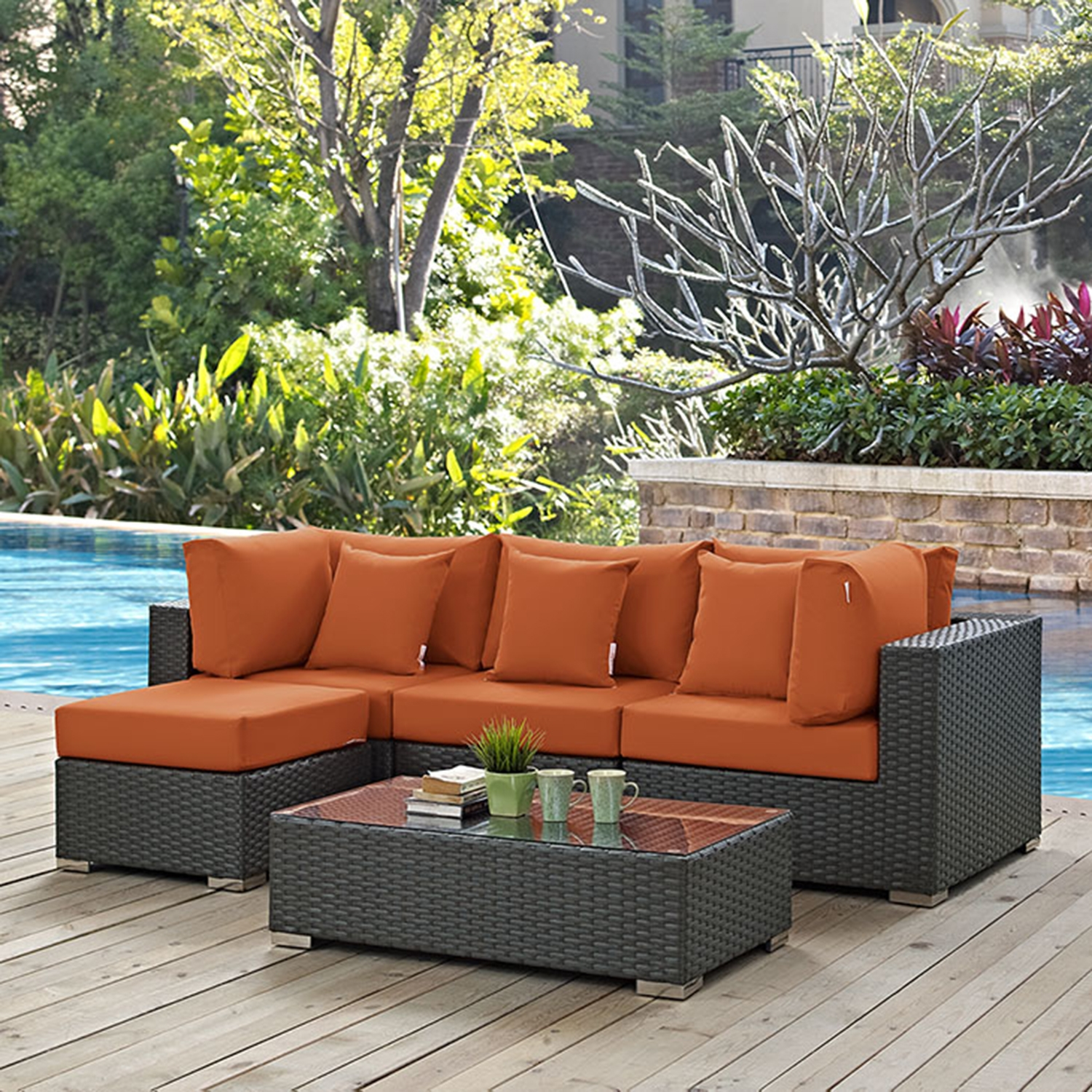 Sojourn 5 Pieces Patio Sectional Set - Sunbrella Canvas Tuscan - EEI-1890-CHC-TUS-SET