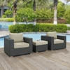 Sojourn 3 Pieces Outdoor Patio Sofa Set - Sunbrella Canvas Antique Beige - EEI-1891-CHC-BEI-SET