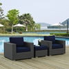 Sojourn 3 Pieces Outdoor Patio Sofa Set - Sunbrella Canvas Navy - EEI-1891-CHC-NAV-SET