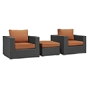 Sojourn 3 Pieces Outdoor Patio Sofa Set - Sunbrella Canvas Tuscan - EEI-1891-CHC-TUS-SET