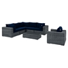 Summon 7 Pieces Outdoor Patio Sectional Set - Sunbrella Canvas Navy - EEI-1892-GRY-NAV-SET
