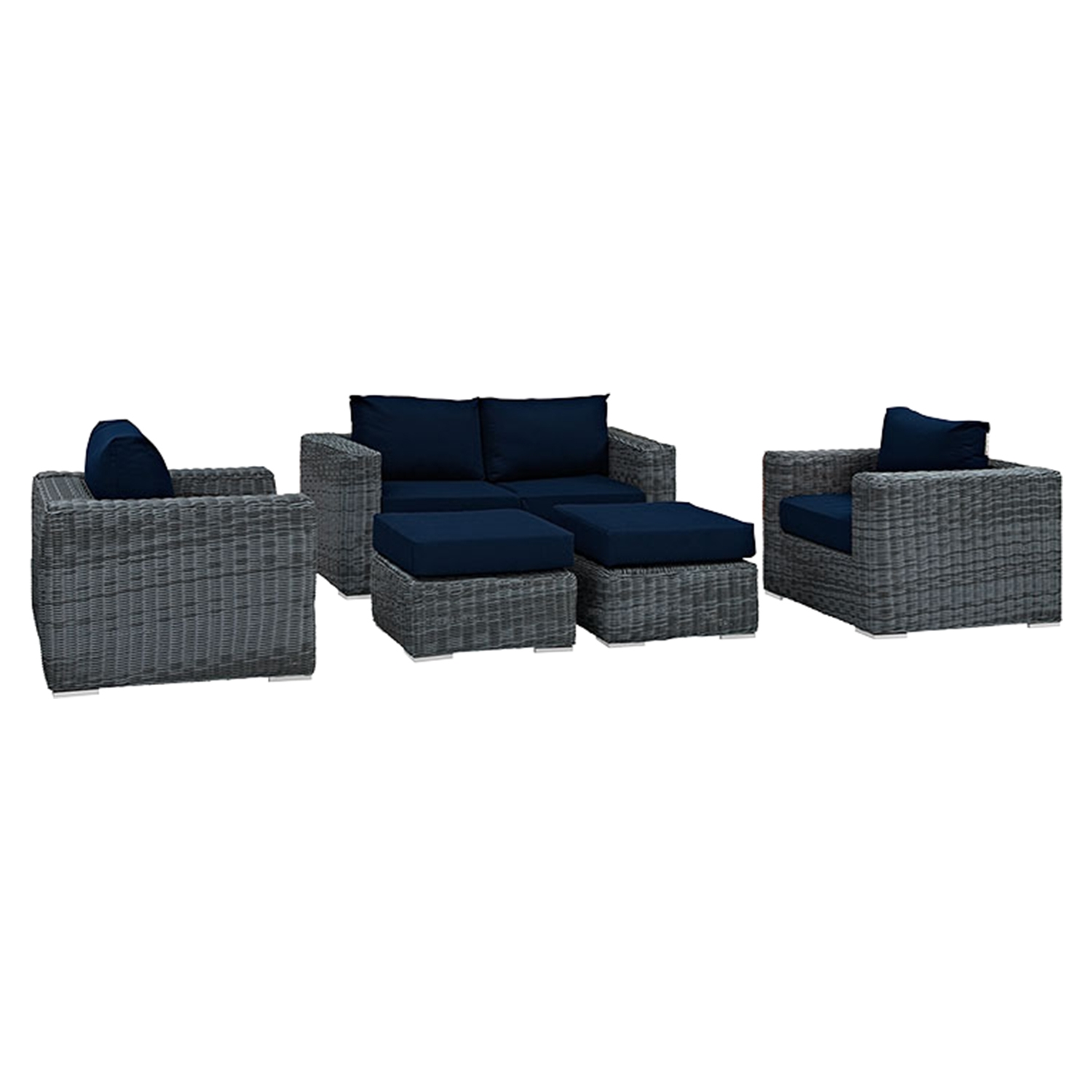 Summon 5 Pieces Outdoor Patio Sofa Set - Sunbrella Canvas Navy - EEI-1893-GRY-NAV-SET