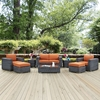 Summon 8 Pieces Outdoor Patio Sofa Set - Sunbrella Canvas Tuscan - EEI-1894-GRY-TUS-SET