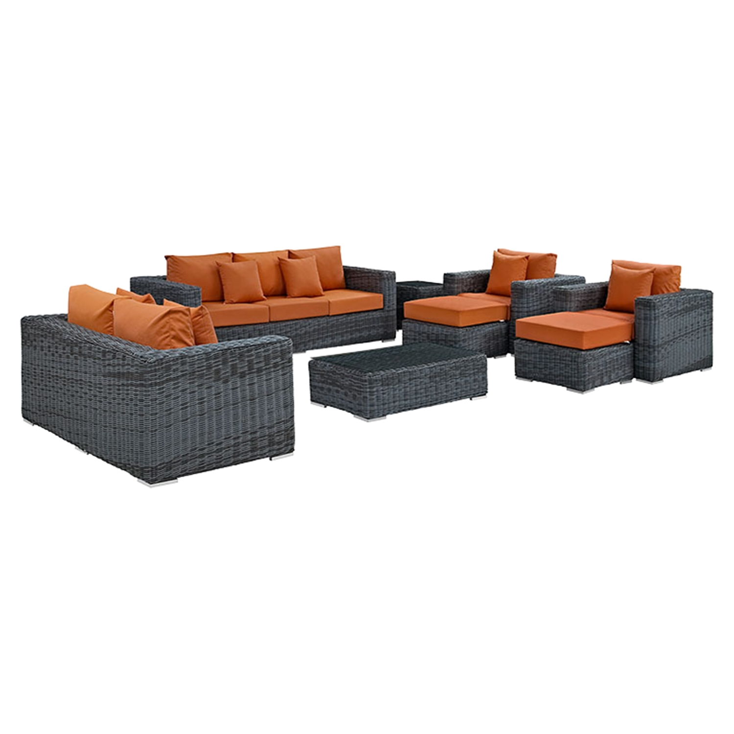 Summon 9 Pieces Outdoor Patio Sectional Sofa Set - Sunbrella Canvas Tuscan - EEI-1895-GRY-TUS-SET