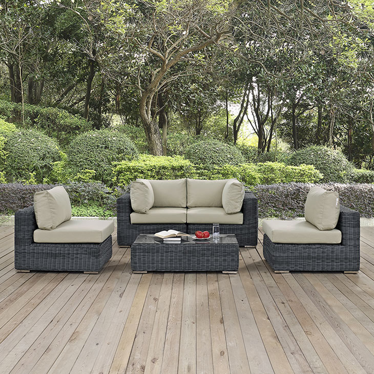 Summon 5 Pieces Patio Sofa Set - Sunbrella Canvas Antique Beige - EEI-1896-GRY-BEI-SET