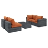 Summon 5 Pieces Patio Sofa Set - Sunbrella Canvas Tuscan - EEI-1896-GRY-TUS-SET