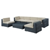 Summon 7 Pieces Patio Sectional Sofa Set - Sunbrella Canvas Antique Beige - EEI-1897-GRY-BEI-SET