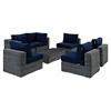 Summon 7 Pieces Outdoor Patio Sectional Sofa Set - Sunbrella Canvas Navy