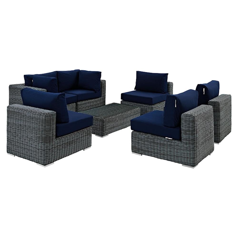 Summon 7 Pieces Outdoor Patio Sectional Sofa Set