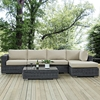 Summon 5 Pieces Patio Sectional Set - Sunbrella Canvas Antique Beige - EEI-1900-GRY-BEI-SET