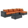 Summon 5 Pieces Patio Sectional Set - Sunbrella Canvas Tuscan - EEI-1900-GRY-TUS-SET