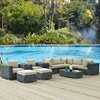 Summon 10 Pieces Patio Sectional Set - Sunbrella Canvas Antique Beige - EEI-1902-GRY-BEI-SET