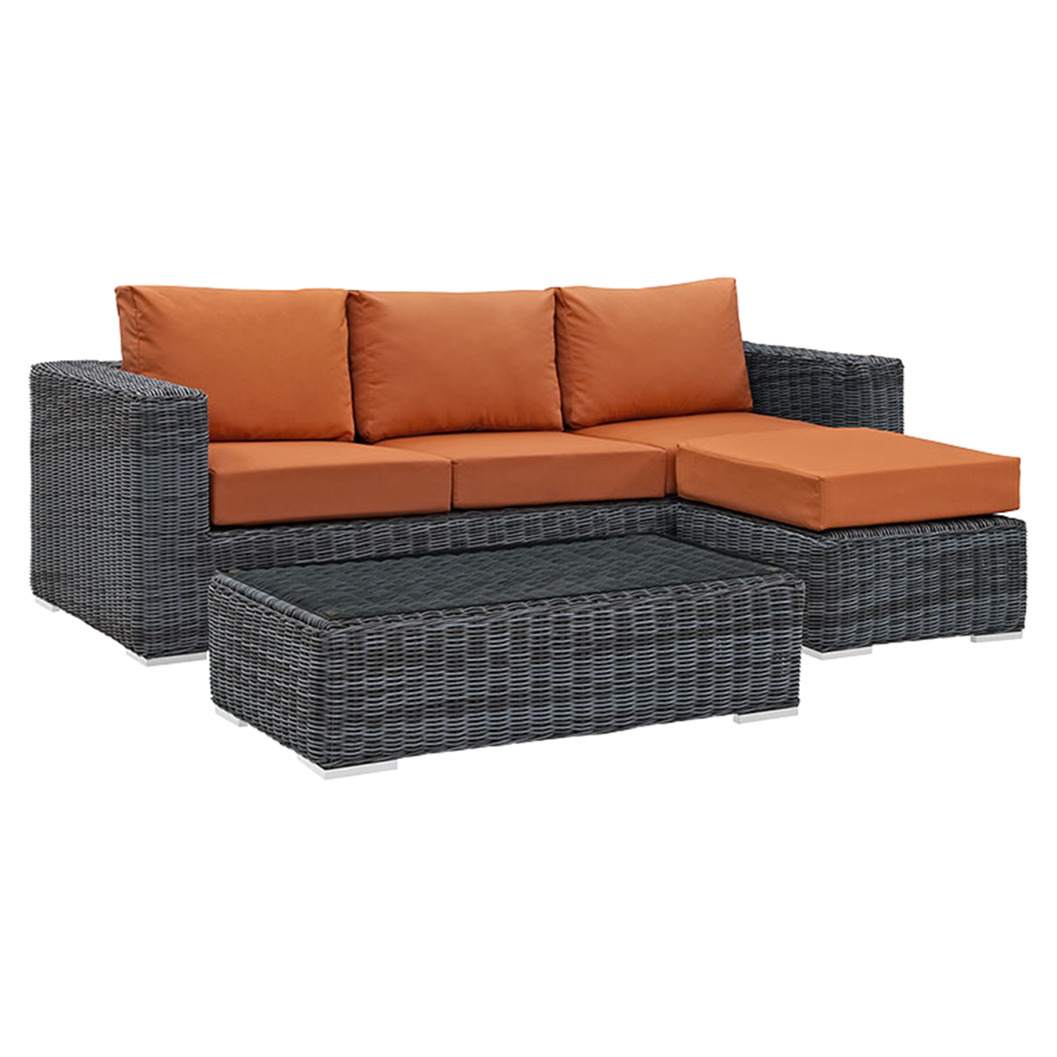 Summon 3 Pieces Outdoor Patio Sectional Set - Sunbrella Canvas Tuscan - EEI-1903-GRY-TUS-SET