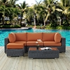 Summon 5 Pieces Outdoor Patio Sectional Set - Sunbrella Canvas Tuscan - EEI-1904-GRY-TUS-SET