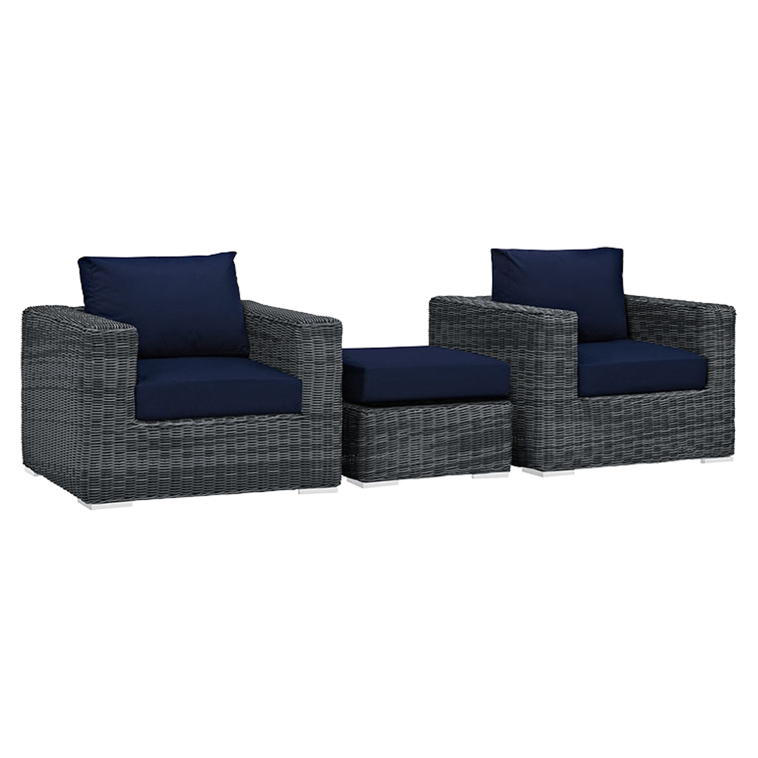 Summon 3 Pieces Outdoor Patio Sofa Set - Sunbrella Canvas Navy - EEI-1905-GRY-NAV-SET