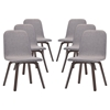 Assert Upholstery Dining Side Chair - Wood Legs, Walnut, Gray (Set of 6) - EEI-1912-WAL-GRY-SET