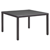 "Convene 47"" Outdoor Patio Dining Table - Square, Glass Top, Espresso - EEI-1914-EXP"