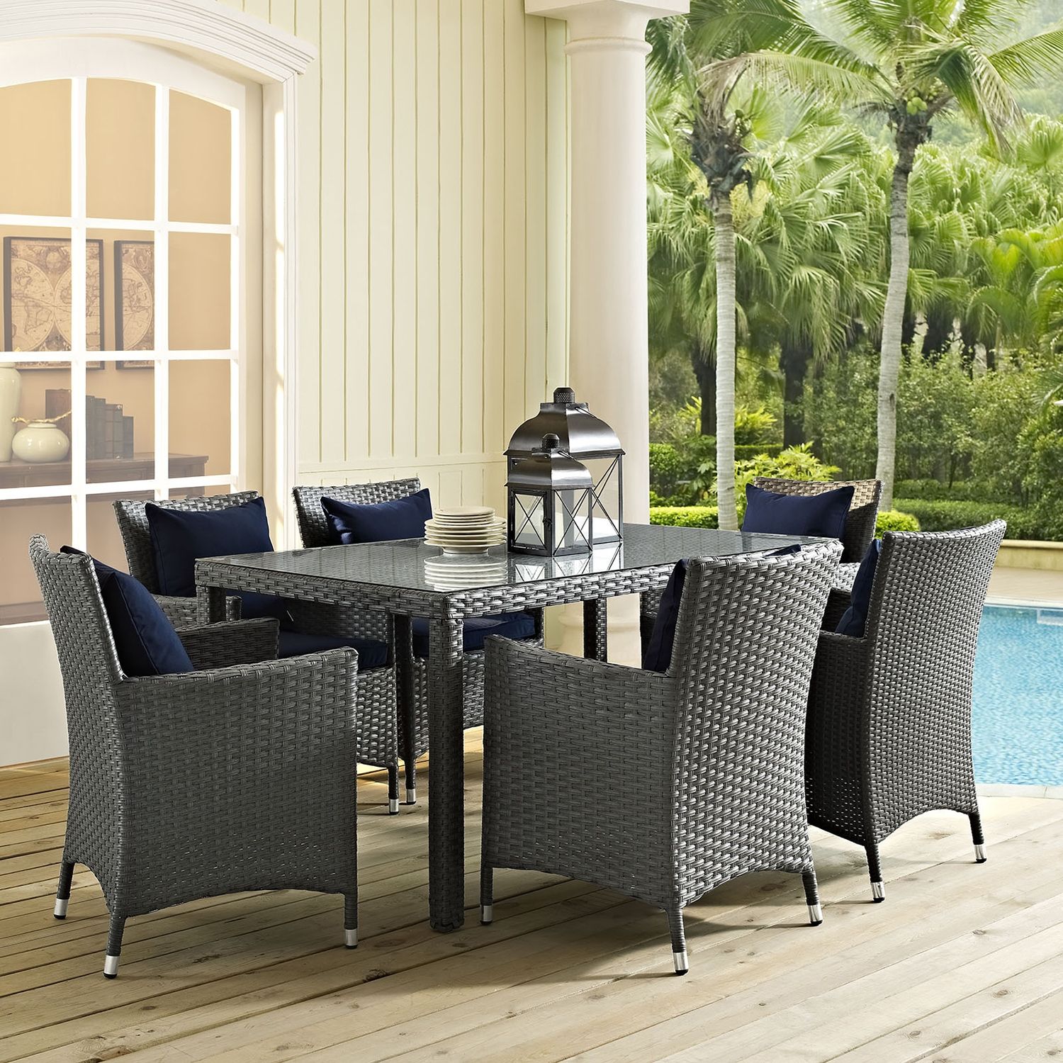"Sojourn 59"" Outdoor Patio Dining Table - Chocolate - EEI-1934-CHC"